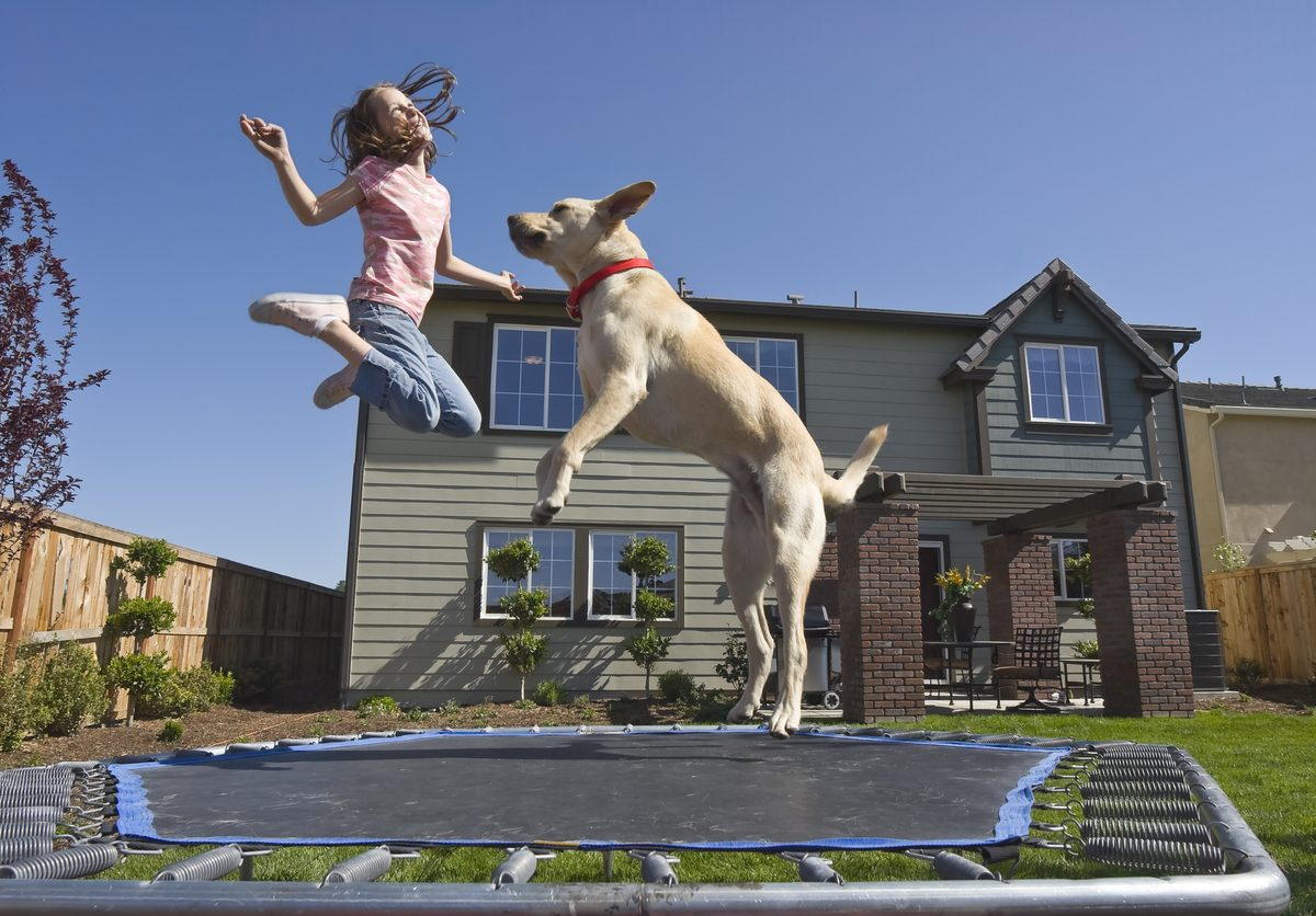 jumping together on a trampoline in her backyard on a bright