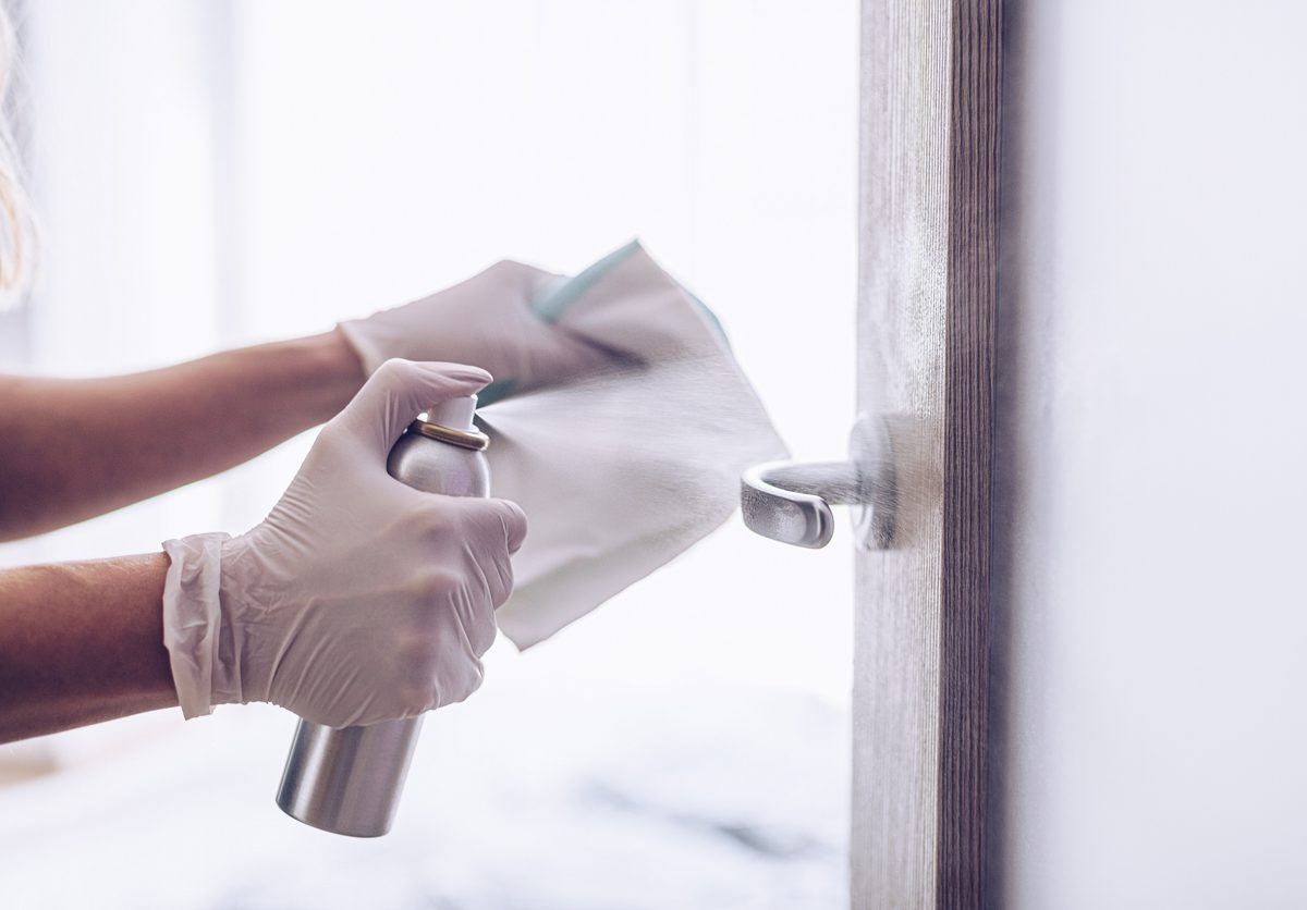 Disinfecting a door knob