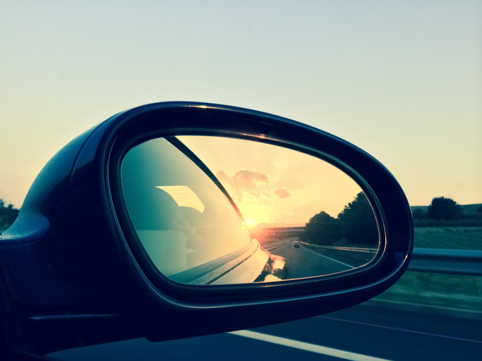 Sunset in a rear view mirror